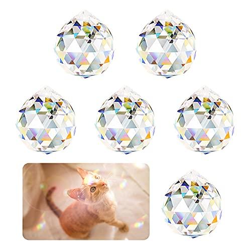 6 Piezas 40mm k9 Bola de Cristal Transparentes Colgante Bola de Cristal Cristales para Lámparas Abalorio Decoración Prisma de Bola Octogonal de Cristal Bola de Cristal Prisma, para Hogar o Feng Shui