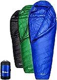 Ubon Extreme 32 Degree F Ultralight Sleeping Bag 650 Fill Power Down Sleeping Bag with ClusterLoft Base,3 Season Mummy Sleeping Bags for Adults Camping Blue