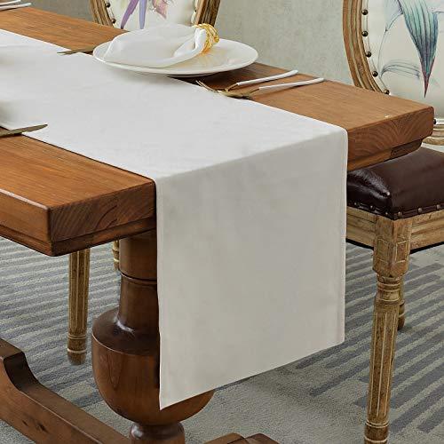 Balcony&Falcon Chemin de Table moderne en Velours, Chemin de Table Elégant Luxe, Décoration de table, chemin de table doux Lavable(Beige, 35 x 240 cm)