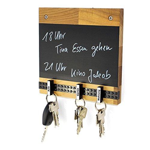 Schlüsselbrett Play 204 Holz | Für die ganze Familie | Schlüsselleiste Nussbaum mit 5 Schlüsselanhängern zum selbst beschriften | Memoboard Tafel mit Kreidestift | schwarz
