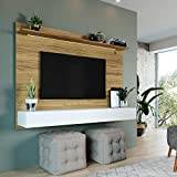 Naomi Home Bliss Wall-Mounted Entertainment Center with TV Panel White/Natural