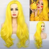 BLUPLE Sexy Yellow Synthetic Wigs Natural Wavy Heat Resistant Hair Replacement Full Wigs for Women 22 inches(No Lace Wig)
