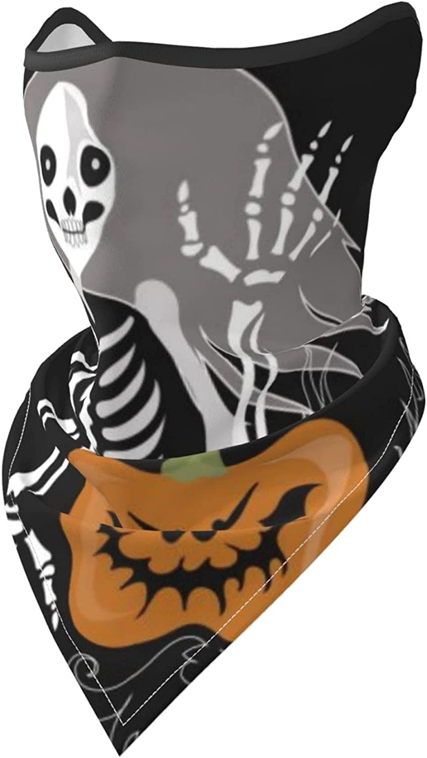 Skeleton Girl with Evil Pumpkin Breathable Bandana Face Mask Neck Gaiter Windproof Sports Mask Scarf Headwear for Men Women Outdoor Hiking Cycling Running Motorcycling