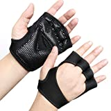 RYMNT Ventilated Workout Gloves for Men Women, Breathable Weight Lifting Glovers with Full Palm Protection & Extra Grip. Great for Fitness Exercise, Cross Training, Gym, Cycling, No Calluses(Black,XS)