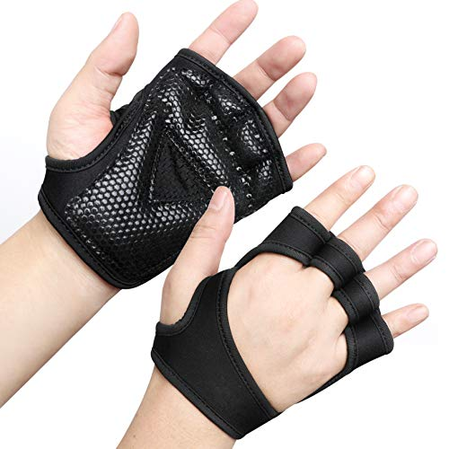 Minimal Weight Lifting Workout Gloves with Vented Cushioned Palm & Extra Grip for Men Women Gym,Weightlifting,Crossfit Training,Fitness,Exercise,WODs,Pullups.BK-L
