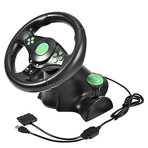 Exliy Volant de Course et Pédales, 23cm Roues Racing Steering Wheel avec Retour de Vibrations, 180 Degrés Rotation, Jeux vidéo Manettes pour Xbox 360, PS2, PS3
