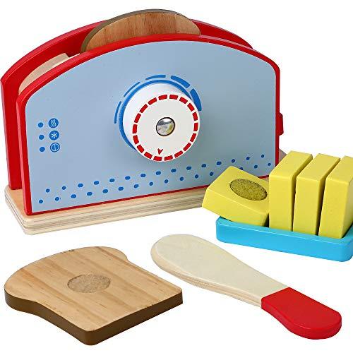B&Julian® - Tostadora de madera para cocina infantil, con discos de pan, cuchillo de madera, accesorios de 9 piezas, juguete de cocina, juego de juguetes de desayuno, cocina de juguete para niños