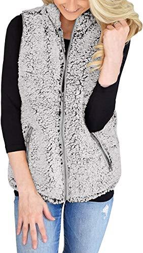 AIMICO Womens Sherpa Fleece Vest Winter Casual Warm Jacket Zip Up Sleeveless Outwear Coat Creamy White L