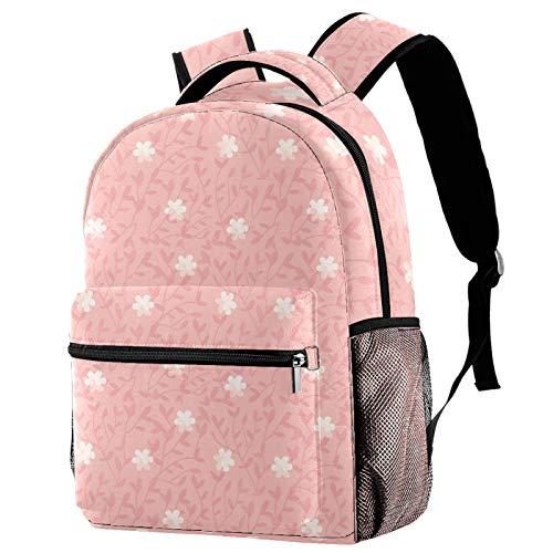 Mochila pequeña de color blanco con flores de sauce rosa para la escuela, mochila de viaje informal para mujeres, adolescentes y niñas
