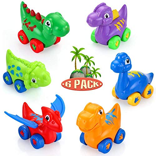 VATOS Toddler Toy Dinosaur Car, 6 Pull Back Vehicles Toys for 1, 2, 3 Year Old Boy & Girl Dino Car Toys for Kids Toy Car Creative Gifts for Kids, Animal Vehicles Party Favors