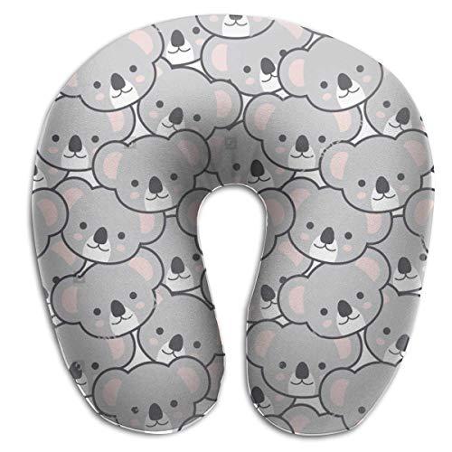 LisaArticles Cuscino per Viaggio,Cuscino di Supporto per Facce di Koala Carino, Cuscino per Collo Portatile per Divano Letto