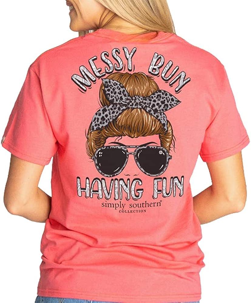 Simply Southern Messy Bun Having Fun Leopard Pink Shirt