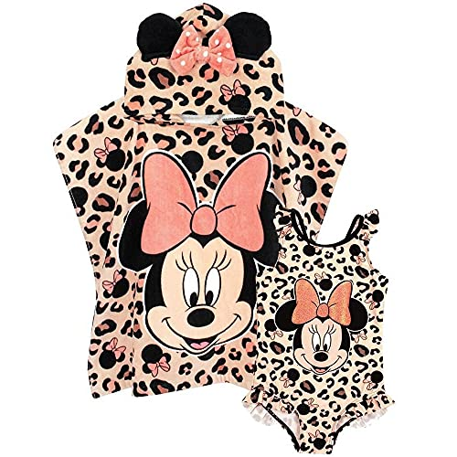 Disney Minnie Mouse Conjunto Traje baño y Poncho de Toalla con Capucha para niña 2-3 años ⭐