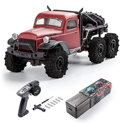 Fms 1:18 Atlas 6X6 Crawler RTR Waterproof Remote Control Car with LED Lights, All Terrain Hobby Off-Road RC Truck Electric Toys for Kids and Adults (Red)