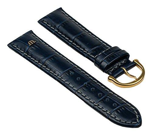 Maurice Lacroix Ersatzband Uhrarmband Leder Band Krokooptik Blau mit Grauer Naht 20mm 25839G