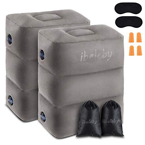 iBeleby - Poggiapiedi gonfiabile da viaggio per bambini, per dormire, altezza regolabile, per ufficio, casa, accessori da viaggio per aereo, auto, scatola per bambini in volo Grigio Grey 1 pezzo
