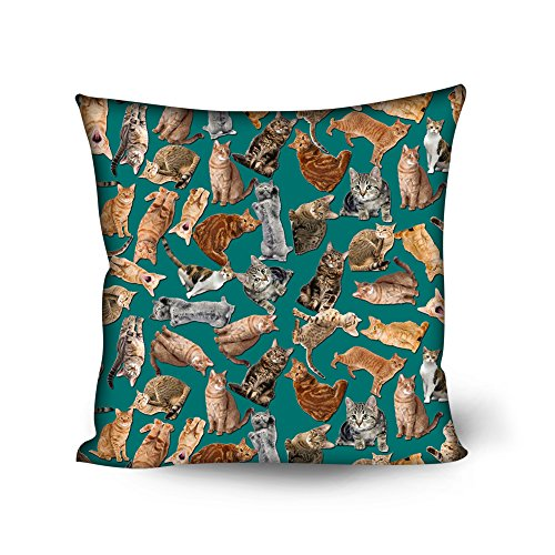 Nopersonality mignon Impression Animal Chien Chat Housse de coussin décoratif Couvre-lit Taie d'oreiller, Polyester, Cat Blue, Taille M