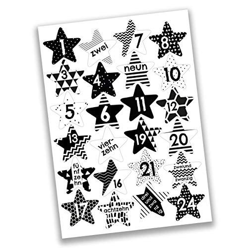 Papierdrachen 24 Adventskalender Zahlen Aufkleber - schwarz weiße Sterne Nr 40 - Sticker zum Basteln und Dekorieren