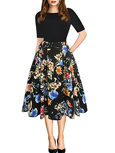 oxiuly Women's Vintage Patchwork Pockets Puffy Swing Casual Party Dress OX165 (XL, Black Floral)