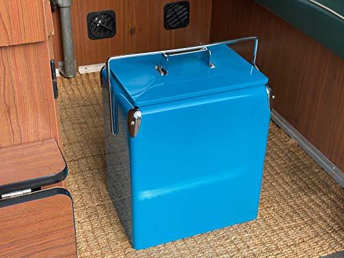 Just Kampers Retro-Kühlbox, groß, 17 l, türkis, isoliert, für Camping, Getränke, Eis, Reisen, Festival, Strand, Picknick