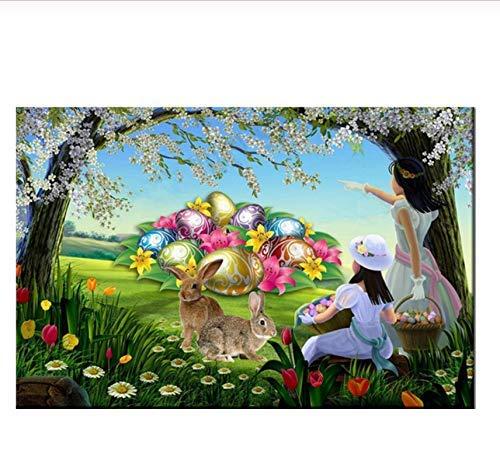 Desconocido Puzzle Jigsaw 1000 Piezas de Huevos de Colores, Dos niñas, Conejo, Juguetes para niños, decoración del hogar