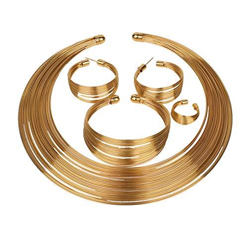 LOXBEE Conjunto de collar y pulsera para mujer, anillo para novias, bodas y fiestas.
