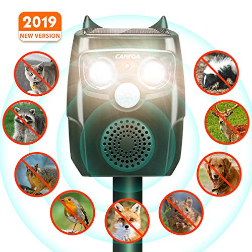 CAMTOA Repellente Gatti,Ultrasuoni Energia Solare,Repeller Animali, Impermeabile,4 in 1 Intelligent Repeller Automatico, Cani Gatti Deer Topi Repellente per Garden Yard Field Farm (3 batterie e USB)