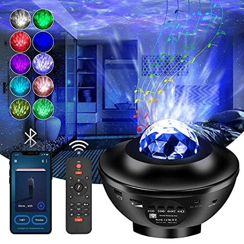 Aotono Proiettore Cielo Stellato, 21 Modalità Di Luce Notturna Rotante, Proiettore Led Con Telecomando/Altoparlante/Connessione Bluetooth, Proiettore Galaxy Con Luminosità Regolabile