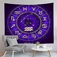 HYTGD-タペストリー 壁掛占星術の星占いサインタペストリー壁掛けヒッピーの装飾ビーチ毛布太陽と月の正方形の寝具