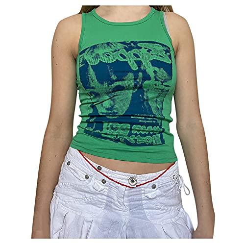 Camiseta de tirantes para mujer, cuello redondo, sexy, estampado, sin mangas, con estampado de dibujos