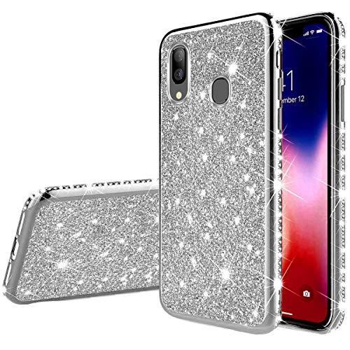 Jinghuash Kompatibel mit Galaxy A40 Handyhülle Glitzer Bling Glänzend Strass Diamant Hülle Ultradünn Stoßfest Überzug TPU Silikon Tasche Schutzhülle Kompatibel mit Galaxy A40-Silber