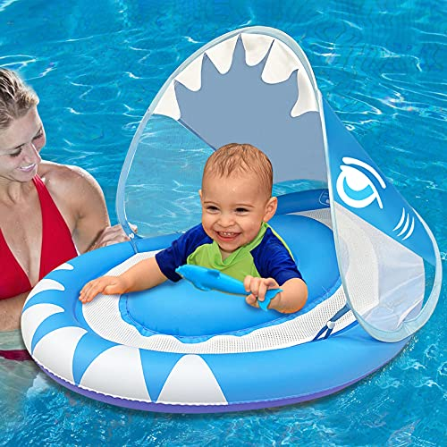 baby pool floats Baby Swimming Pool Float Ring with Removable Sun Canopy Safety Seat,Newest Double Airbag Inflatable Babies Spring Floatie Swim Trainer Newborn Infant Toddler, 6-36 Months