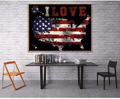 YYTTLL pintura de diamantes con diamantes de imitación cuadrados mapa americano mosaico de diamantes bandera de dibujos animados imagen de diamante 40X50Cm