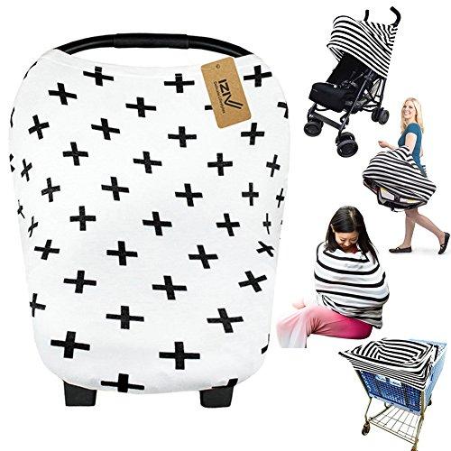 iZiv Ultrasoft 4-in-1 Mehrzweck-Baby Stretchy Abdeckung Auto Sitz Baldachin/Krankenpflege Abdeckung/Warenkorb Cover/Infinity Schal Perfektes Geschenk für Baby (Farbe-1)