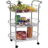 Diech 3 und 4 Chrom Küche Obst Gemüse Servierwagen Rollwagen Badregal Regal Ständer mit 4 Rollen ovale Korbablage, 3 Tiers