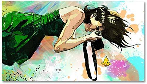 Cuadros de arte de pared Resumen de buceo Chica Fotografía Arte de pared Carteles para sala de estar Decoración del hogar Pinturas de lienzo de peces de colores 70x90cm sin marco