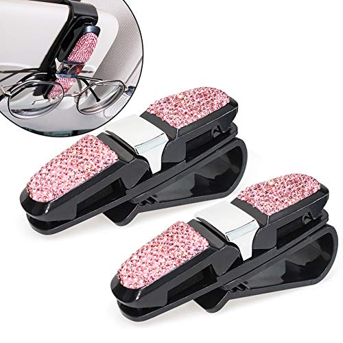 2 x Brillenhalter für Auto Sonnenblende,YuanGu Modische Strasssteine Sun Visor Clip Auto Sonnenbrillen Clip mit doppelseitigem Ticket-Clip für die Sonnenblende, Auto-Zubehör(Rosa)