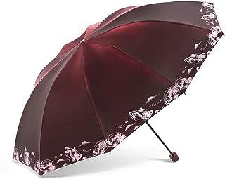 Light Sun Umbrella 113 * 77cm10 Bone Double Rain and Rain Umbrella Three-fold Umbrella for Men and Women Portable (Color : Red)