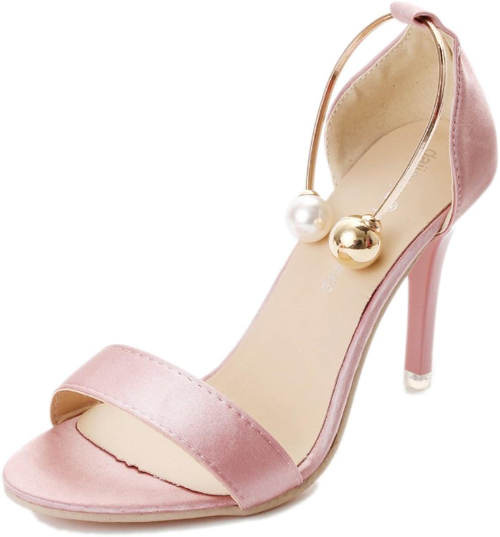 EUDNLMEIM Buckle High Heel Sandals,Summer Fashion Sexy Peep-Toe Heels-Pink Foot Length=23.3CM(9.2Inch)