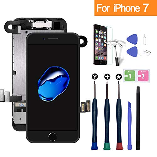 Xlhama Ersatzbildschirm Touchscreen LCD Display kompatibel für iPhone 7 Schwarz 4,7'' mit Reparaturwerkzeug, Frontkamera, Proxidationssensor, Lautsprecher, Folie aus Hartglas
