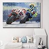 REDWPQ Motocicleta Racer Poster Motocicleta Road Racer Pintura Imprimir Obra de Arte Cuadros de Pared para Sala de Estar Decoración para el hogar 40 * 60 cm sin Marco