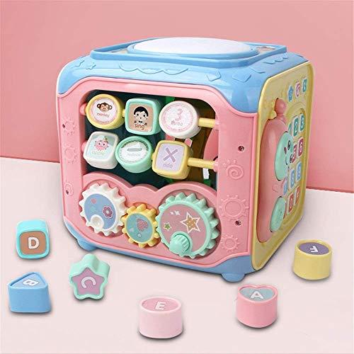 Dirgee Holzblock Educational Toy Activity Cube Multifunktionsleuchten Wulst Labyrinth Kinderpädagogische Spielzeugaktivität und Frühlust- und Entwicklungsaktivitätszentrum