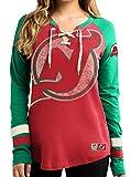 """New Jersey Trikot Devils Women's NHL Majestic """"Vintage Hip Check"""" Lace Up V-Neck Shirt -"""
