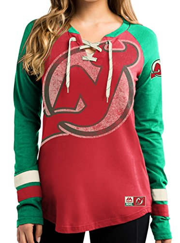 NHL T-Shirt Trikot Damen Women NEW JERSEY DEVILS HipCheck Eishockey Shirt (L)