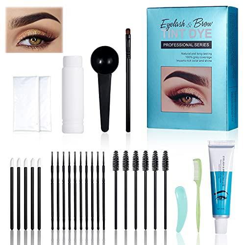Eyebrow Dye Kit,Professional Eyebrow Color Tint Kit,Black Semi-Permanent Brow Tinting Dye Cream,Long Lasting Waterproof Tattoo Eyebrow Paste Set with Brush Makeup Tools