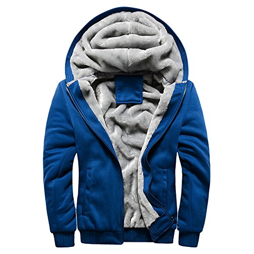 Toimothcn Mens Faux Fur Lined Coat Winter Warm Fleece Hood Zipper Sweatshirt Jacket Outwear (Blue2,XXXXL)