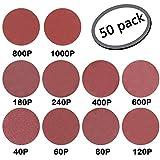 GuTen 50PCS 200mm/8 Inch NO-Hole PSA oxyde d'aluminium Disque De Ponçage Assorti 40/60/80/120/180/240/400/600/800/1000 Grain (200mm)
