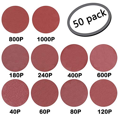 GeBot 50PCS 10-Inch NO-Hole PSA Aluminum Oxide Sanding Disc Self Stick Assorted 40/60/ 80/120/ 180/240/ 400/600/ 800/1000 Grits (10 Inch)