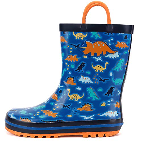 mysoft Kids Rubber Rain Boots Boys Toddler Waterproof Rainboots with Animal Patterns and Easy on Handles