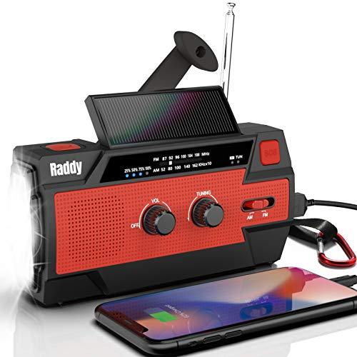 Raddy SW3 Kurbelradio Tragbares Solar Radio Notfall AM FM Dynoma Radio mit USB Handyladefunktion LED Taschenlampe und 4000mAh wiederaufladbares Batterie für Outdoor Camping, 2020 Neueste Verion (Rot)